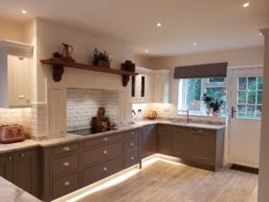 Bright Bespoke Designed Kitchen with Marble Worktop